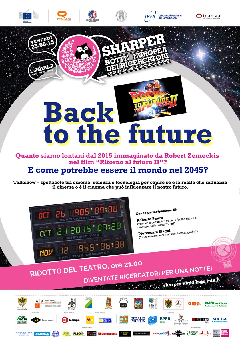 """Back to the future"" a Sharper-La Notte dei Ricercatori dell'Aquila"